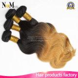 Seidige gerades Haar-Extensions-wellenförmige Großhandelsjungfrau malaysische Ombre Haar-Webart