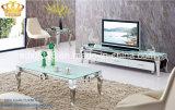 Estante inoxidable superior de cristal con estilo contemporáneo caliente del marco de acero TV