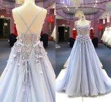 Flor Tulle azul que perla o vestido de noite Wgf159