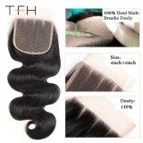 Barato por grosso de onda do Corpo Brasileiro Lace Encerramento, cor natural, 4*4 100% Remy Hair encerramento, 10 a 22 polegadas parte livre (TFH18)