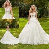 Blume 3D wulstiges Ballgown Brautabend-Abschlussball-Kleid-Hochzeits-Kleid (8128)