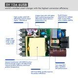 Заряжателя всеобщая 5V 12A USB Kfd 60W 6-Port чернота Desktop с СИД