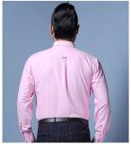회사를 위한 도매 직원 평야 로고 자수 백색 셔츠는 주문을 받아서 만들었다
