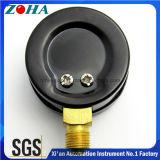 """40mm/1.5 """"黒い鋼鉄ケースの黄銅のコネクターが付いている最下の接続の圧力計"""