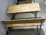 学校のための金属フレームのSoildの木製の二重机そして椅子