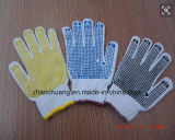Хлопок связал двойные поставленные точки PVC промышленные перчатки работы безопасности руки