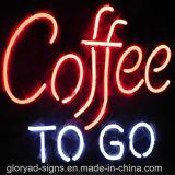 Muestra abierta del café impermeable del neón LED