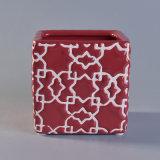 赤い艶出しの正方形の陶磁器の蝋燭ホールダー