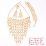 Anelli Gold-Plated alla moda stabiliti dei braccialetti degli orecchini della collana di cerimonia nuziale dei monili dell'Africa