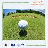 Erba artificiale della superficie ad alta densità e piana, tappeto erboso sintetico, prato inglese falso per golf che mette zona