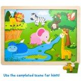Exotische Safari-Einfügung-hölzernes Puzzle der Pappel (24PCS)