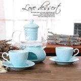 Jeu en verre réglé de bac de thé de porcelaine de vaisselle de bac en céramique en verre blanc pur de thé