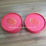 El logotipo de lámina de oro ronda ronda Tin Box Caja de regalo de papel
