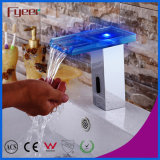 Fyeer Glass Spout Waterfall Automatic Sensor Faucet com luz LED