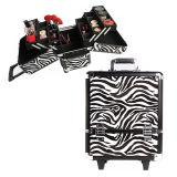 Zebra Valise Trolley en aluminium de surface pour l'extérieur avec les roues de maquillage