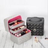 防水のおよび伸ばされた世帯の化粧品および宝石類の収納箱、創造的なPUの革化粧箱