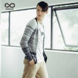 50%Modal 50%Cotton Striped Man Open Cardigan