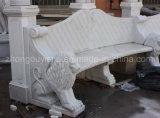 ライオンの彫刻の石造りの切り分ける自然な大理石の庭のベンチ