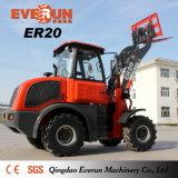 Everun 2017 Hydraulic Cargador compacto de 2 toneladas con el cubo del mezclador