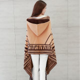 Mulheres Fashion Viscose Nylon Knitted Winter Fringed Shawl (YKY4523)
