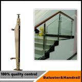 ステンレス鋼のガラス柵の柱デザイン
