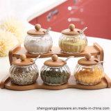 Commerce de gros 5PCS Jar Spice ensemble avec support en bois et une cuillère