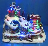 '' Dorf-Szene LED-12 mit drei Bewegung, bewegender Eislauf, tanzende Leute, Kinder, die Hockey, acht Weihnachtsliede spielen