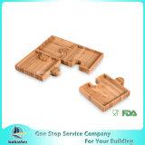 Simo en bambou - plaque en bambou de bambou de plaque de plateau de casse-croûte Nuts multifonctionnel d'apéritif de puzzle