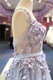 Цветок голубой Tulle отбортовывая платье вечера Wgf159