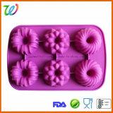 Carter de gâteau de fleur de silicones de cavité de la vente en gros six
