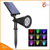 새로운 디자인 RGB LED 태양 에너지 스포트라이트 태양 정원 잔디밭 빛 안전 램프 조경 빛