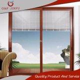 Perfil de aluminio color madera puertas corredizas de cristal con persianas integral