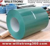 La couleur a enduit la bobine en aluminium de la configuration en bois