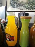 botella de leche de cristal de la dimensión de una variable redonda 400ml con la tapa y la paja, botella del jugo, botella de agua del metal