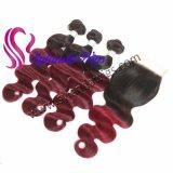 """3 bundles+4""""x4 """" Corps de fermeture de la Dentelle VAGUE #1b-99J REMY Cheveux humains avec livraison gratuite"""