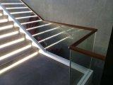 주문 현대 나무로 되는 손잡이지주 똑바른 계단 유리 접시 강철 층계