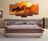 Frame do poster da pintura da arte da lona da parede para a foto impressa HD moderna dos cavalos animais do por do sol dos retratos do painel da decoração 5 da HOME do quarto