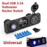12V accenditore automatico doppio blu della sigaretta dell'interruttore di attuatore del caricatore dell'automobile del USB del voltmetro LED