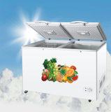 Большой емкости в коммерческих целях верхней части двойные двери морозильный аппарат для защиты грудной клетки с помощью ручного размораживания