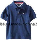 L'abitudine 100% del cotone scherza la breve camicia di polo del manicotto dei ragazzi