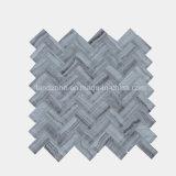 ヘリンボンパターン白い大理石のガラスモザイク・タイル
