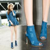 Ботинки краткости полости рта рыб High-Heeled ботинок лета модные европейские и американским помытые типом ботинки джинсовой ткани холодные