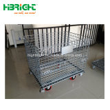 Utilização de depósito colapsáveis e recipiente de paletes de malha de arame empilháveis com Rodas