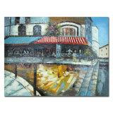 Европейского кафе и ресторан уличные зарисовки картины маслом на холсте