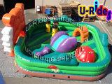 Kind-Spielplatz-Dinosaurier, der aufblasbare kombinierte aufblasbare Spielwaren für Hinterhof springt