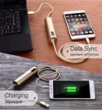 Sincronização dos dados que cobra o cabo do USB com o banco da potência para o iPhone para o Android para o tipo C