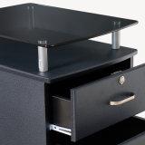 Portable armoire de remplissage de bureau en bois avec table en verre trempé