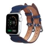 Tira de vigilância em pele genuína ampla com 2 Fivelas para faixa de relógio da Apple