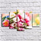 Las 5 flores modernas calientes del panel HD que pintaban el art déco casero de la pared de la pintura de la lona de la decoración de las flores de los tulipanes enmarcaron arte