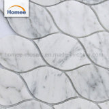 デザインCarreraのイタリア白いランタンのWaterjet大理石のモザイク・タイル